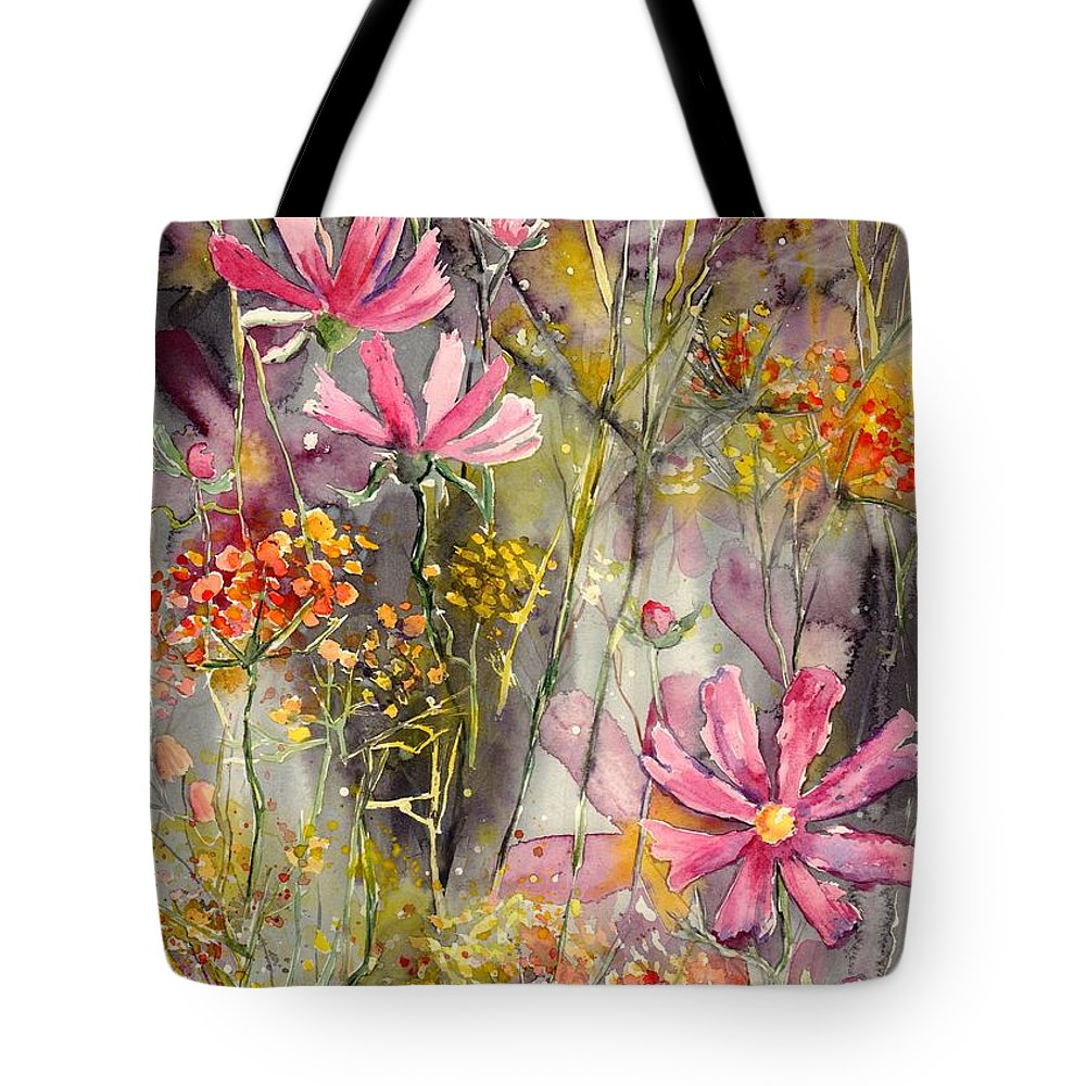 Pink Tote Bag featuring the painting Floral Cosmos by Suzann Sines