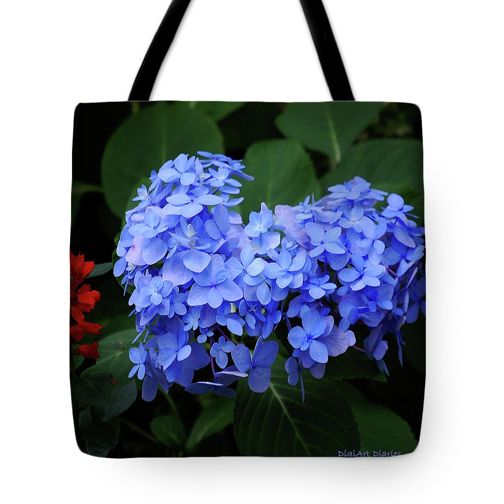 Flowers Tote Bag featuring the digital art Floral Duet by DigiArt Diaries by Vicky B Fuller