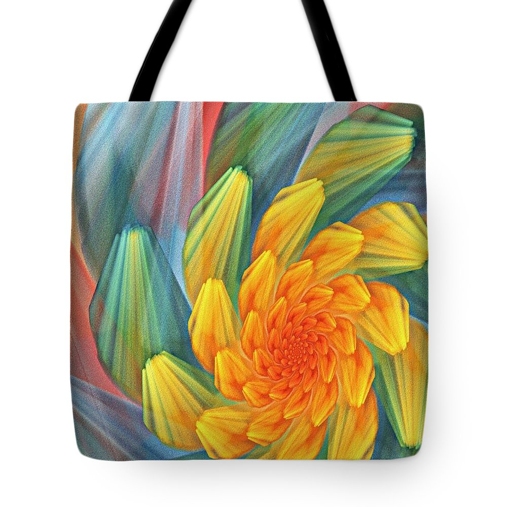 Digital Painting Tote Bag featuring the digital art Floral Expressions 1 by David Lane