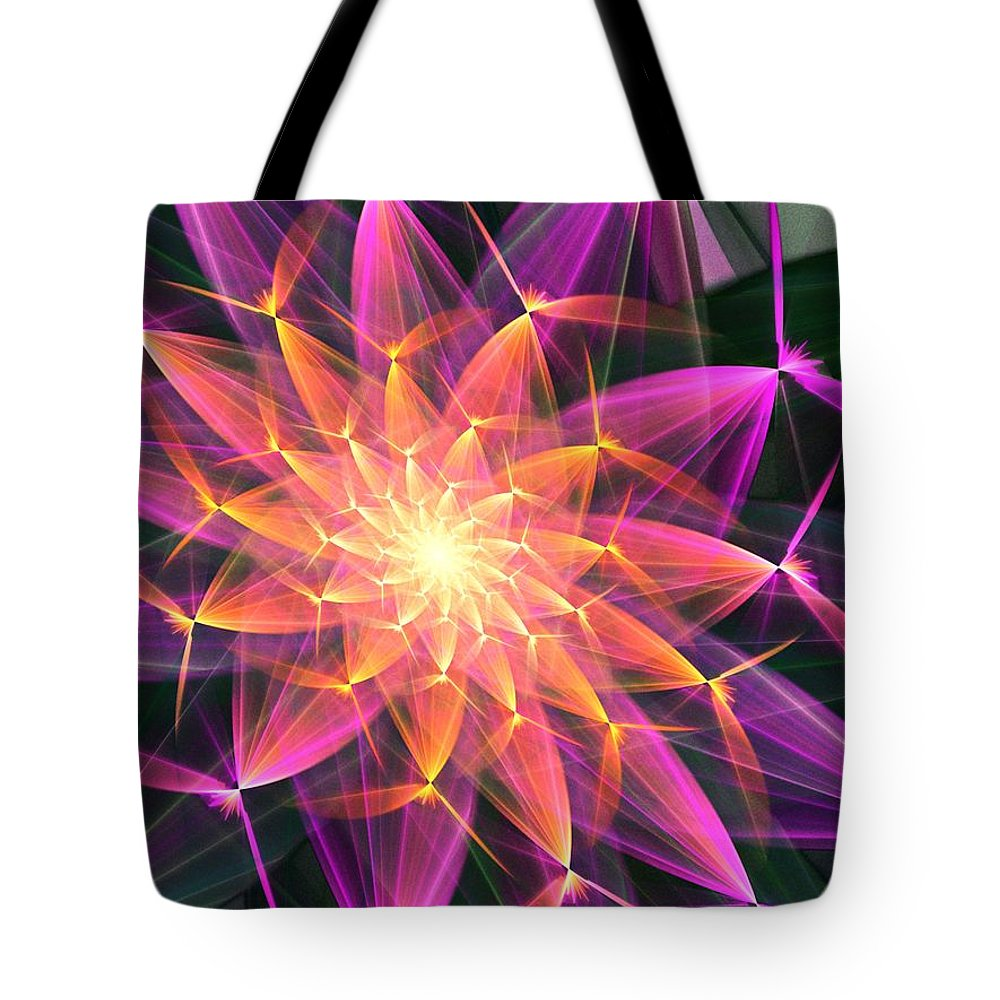 Digital Painting Tote Bag featuring the digital art Floral Expressions 3 by David Lane