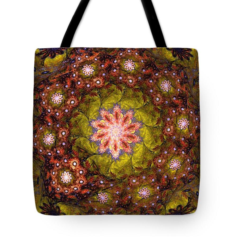 Fantasy Tote Bag featuring the digital art Floral Fractal Wreath by David Lane