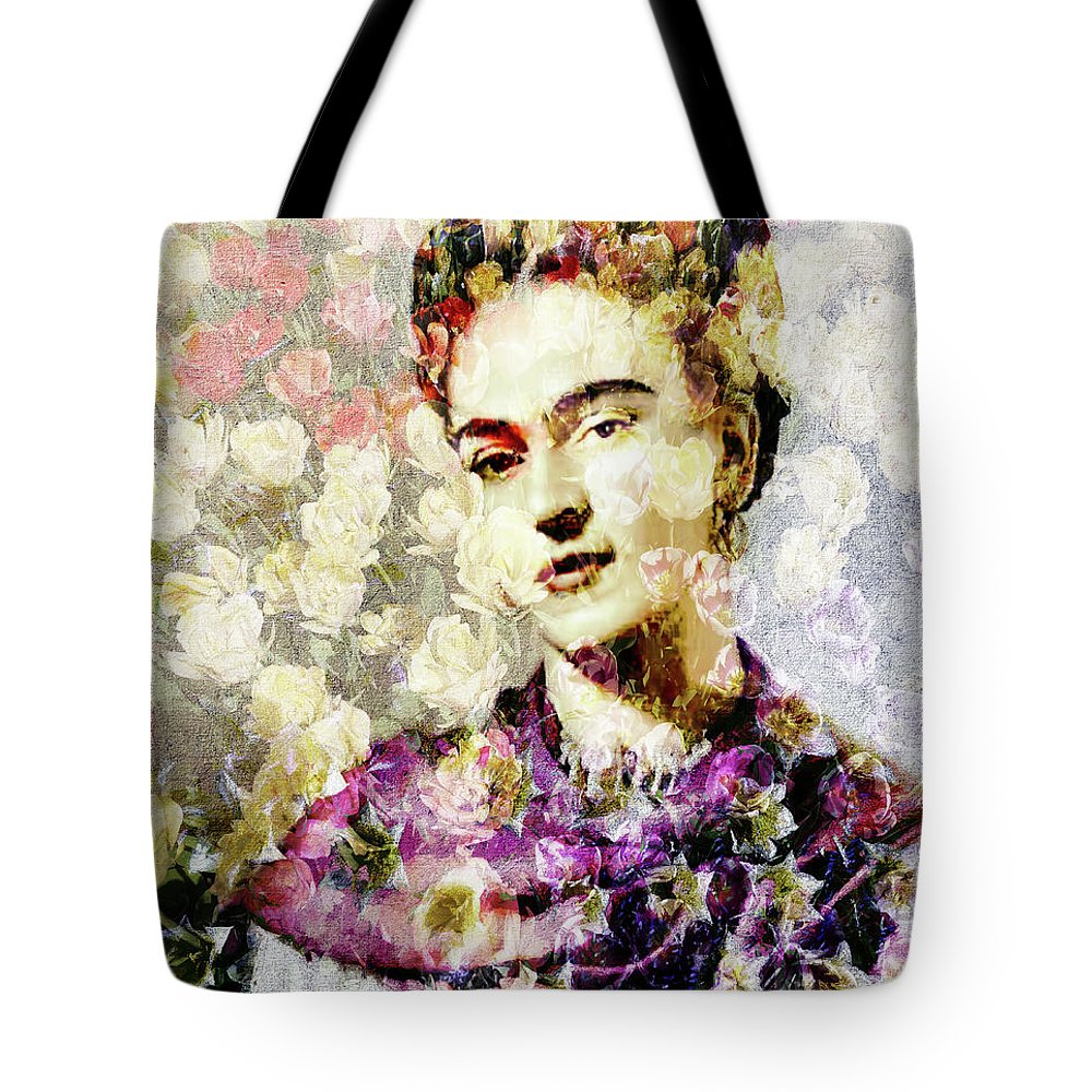 Frida Kahlo Tote Bag featuring the photograph Floral Frida Vii by Tina Baxter