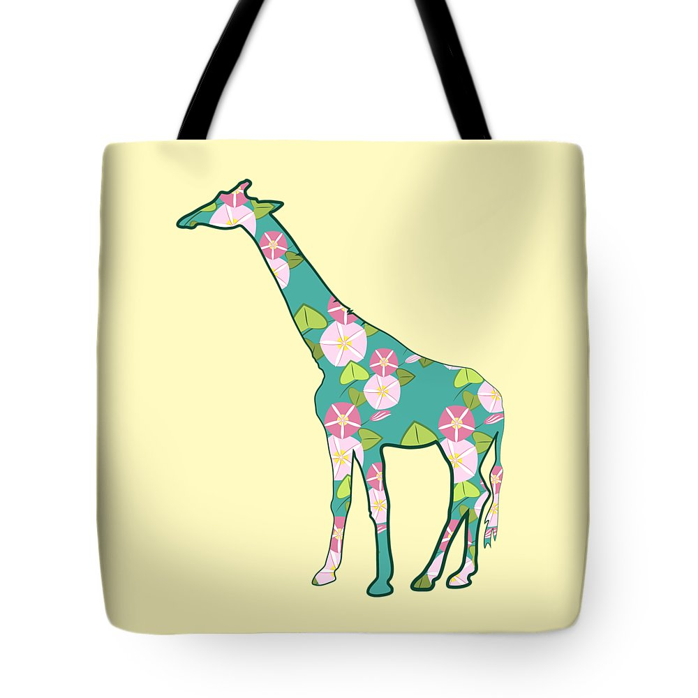 Animal Graphic Tote Bag featuring the digital art Floral Giraffe by MM Anderson