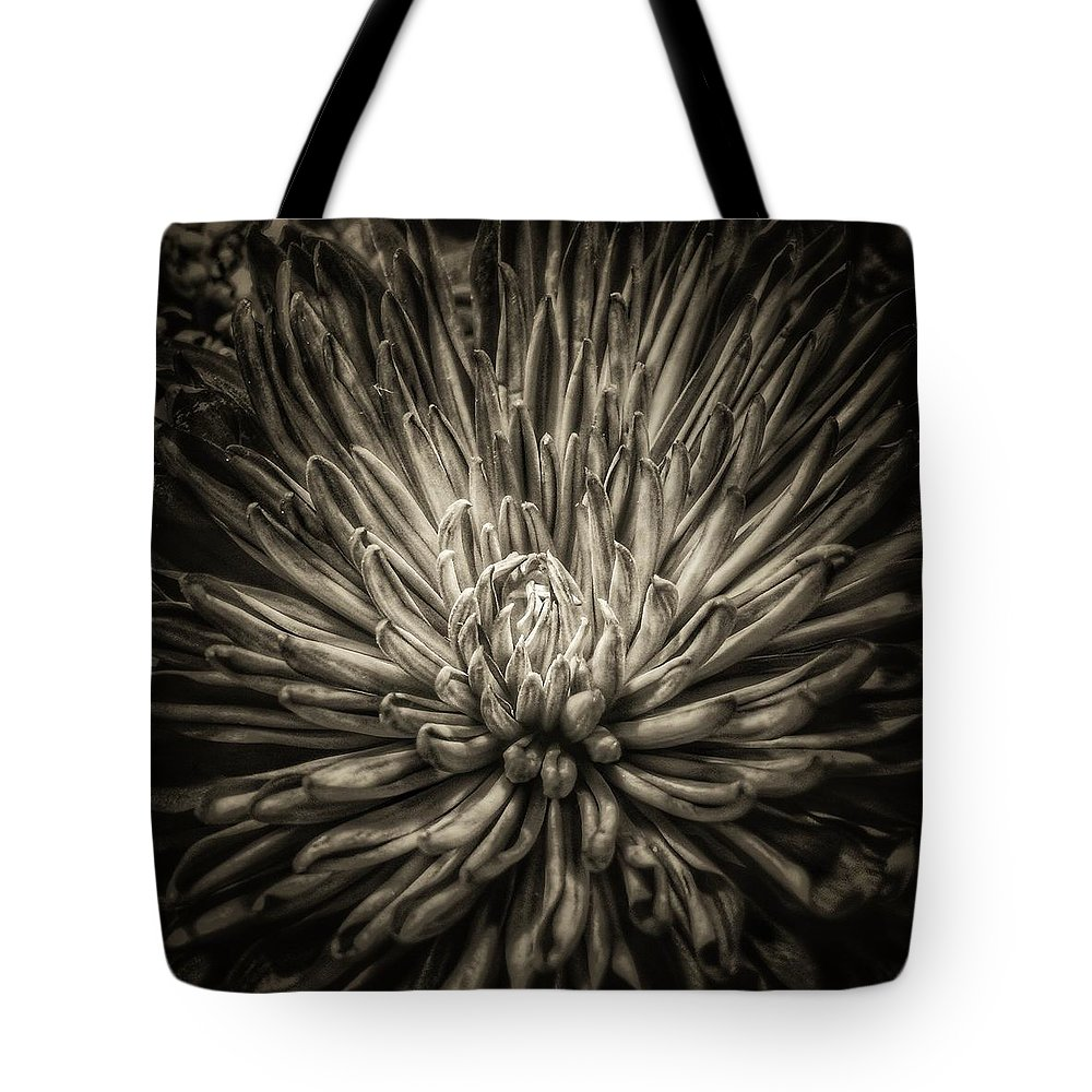 Flower Tote Bag featuring the photograph Floral In Sepia 1 by Tony Ramos