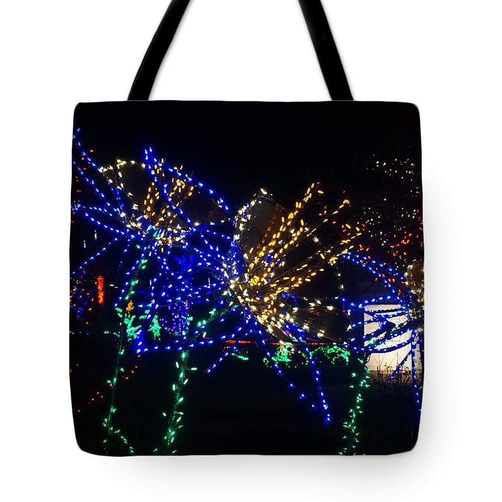 Winter Tote Bag featuring the photograph Floral Lights by Susan Brown
