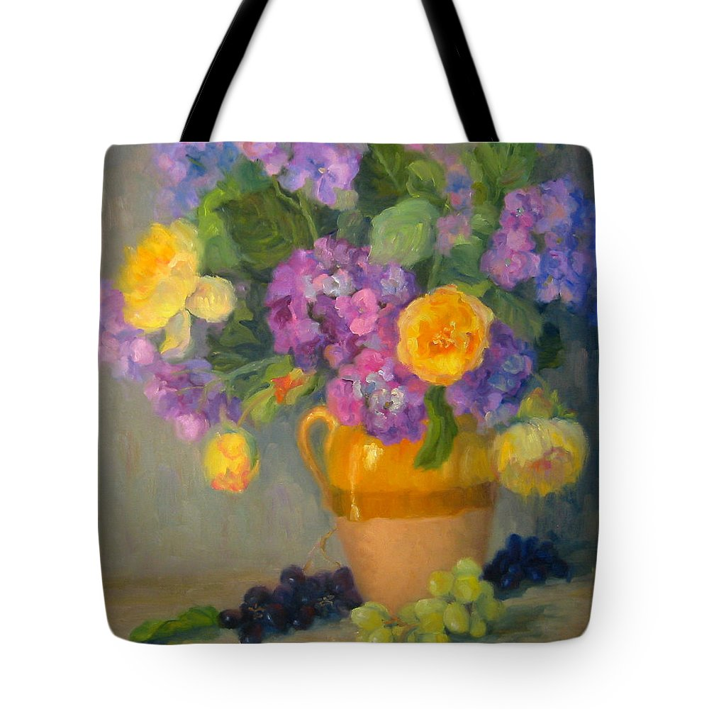 Still Life Tote Bag featuring the painting Floral Melody by Bunny Oliver