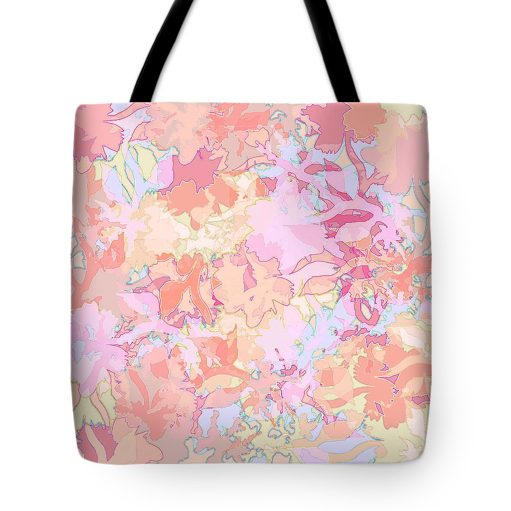 Abstract Tote Bag featuring the digital art Floral Menagerie by Rachel Christine Nowicki