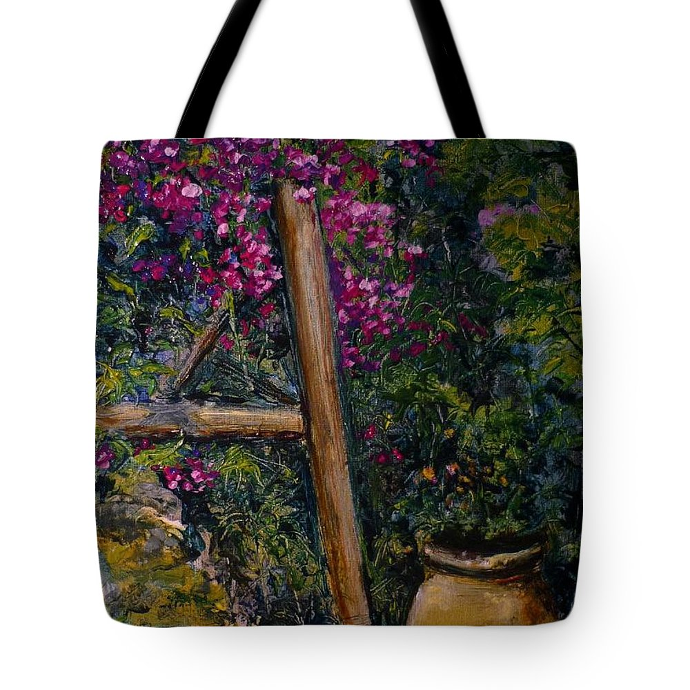 Bouganvilla Tote Bag featuring the painting Floral Peace by Lizzy Forrester