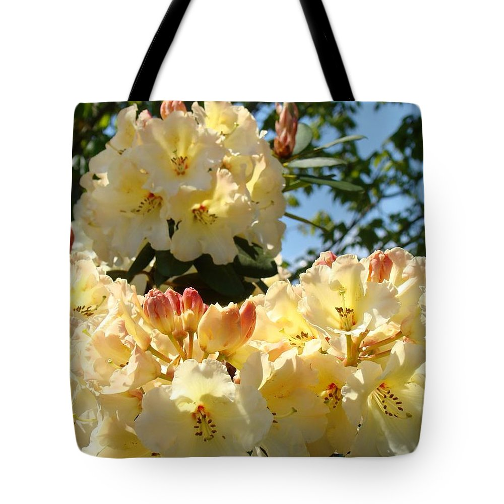 Rhodies Tote Bag featuring the photograph Floral Rhododendrons Fine Art Photography Art Prints Baslee Troutman by Baslee Troutman