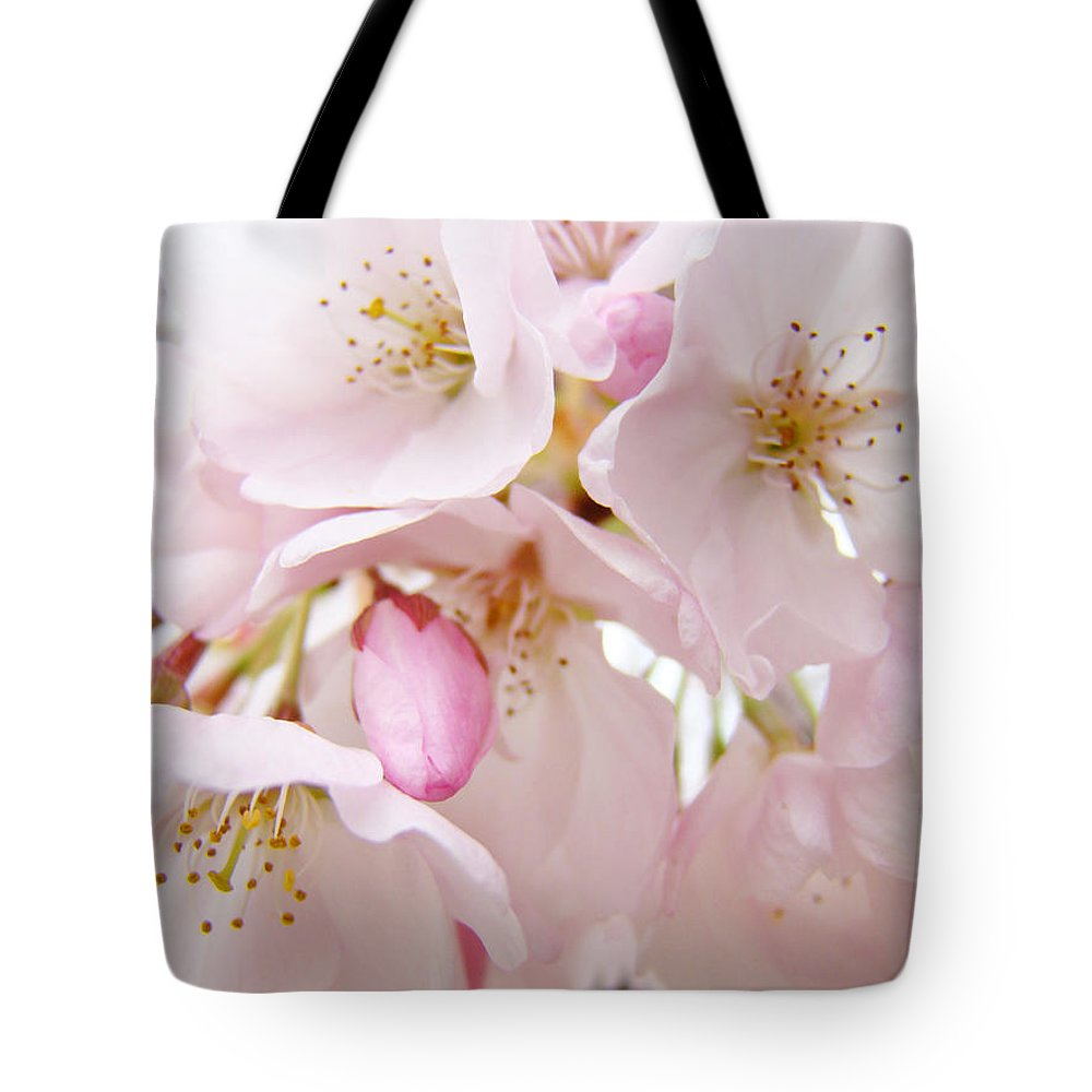 Blossom Tote Bag featuring the photograph Floral Soft Pink Blossoms Spring Art Baslee Troutman by Baslee Troutman
