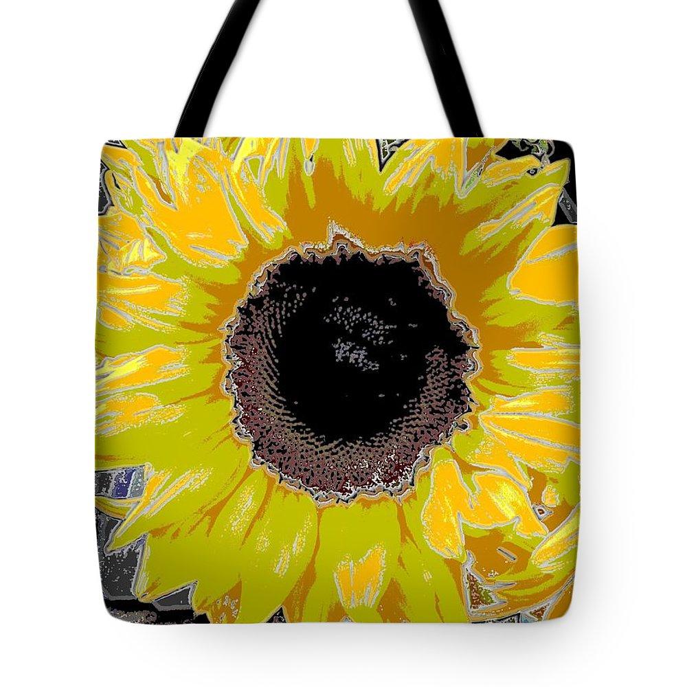 Sunflower Tote Bag featuring the digital art Floral Sunbeam by Tim Allen