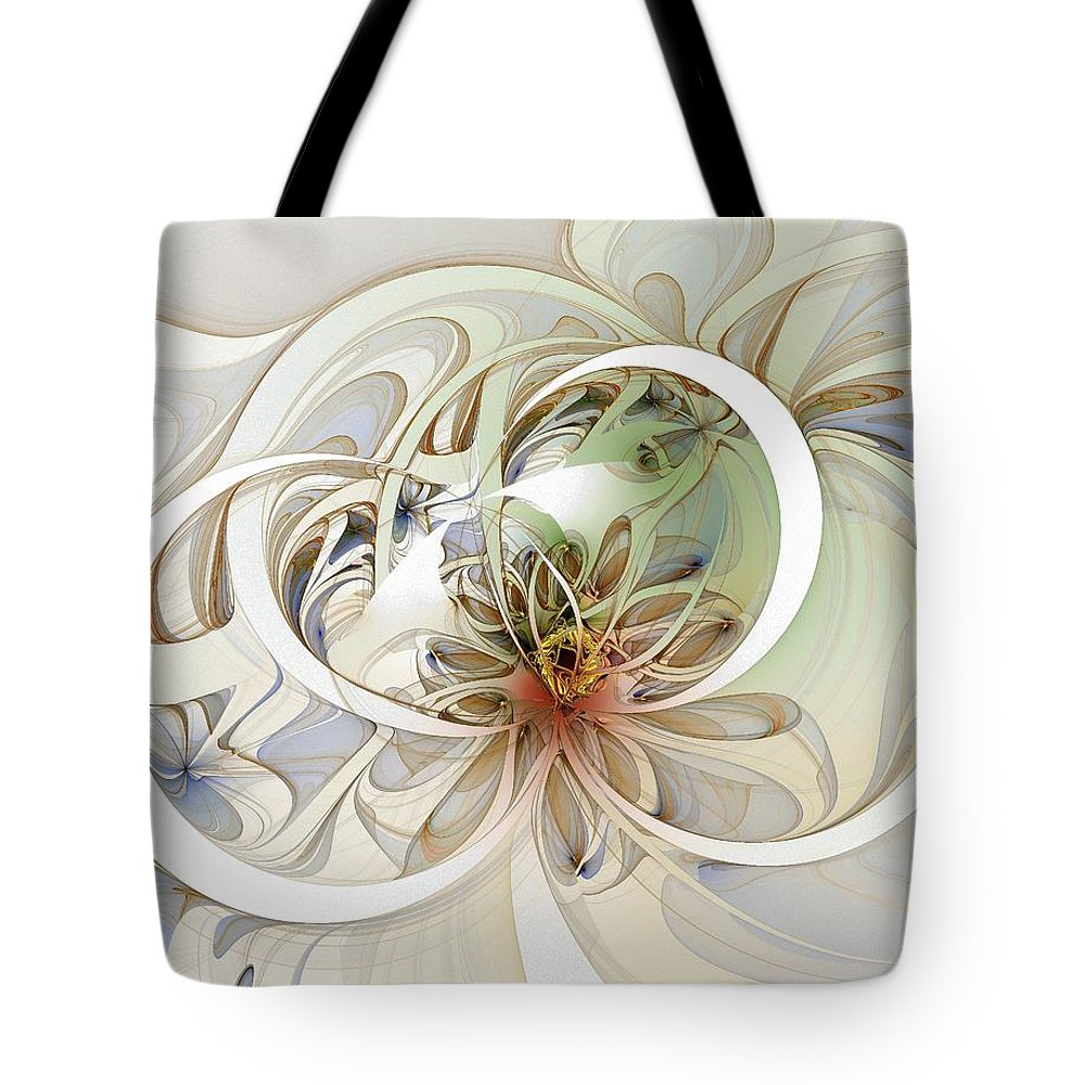 Digital Art Tote Bag featuring the digital art Floral Swirls by Amanda Moore