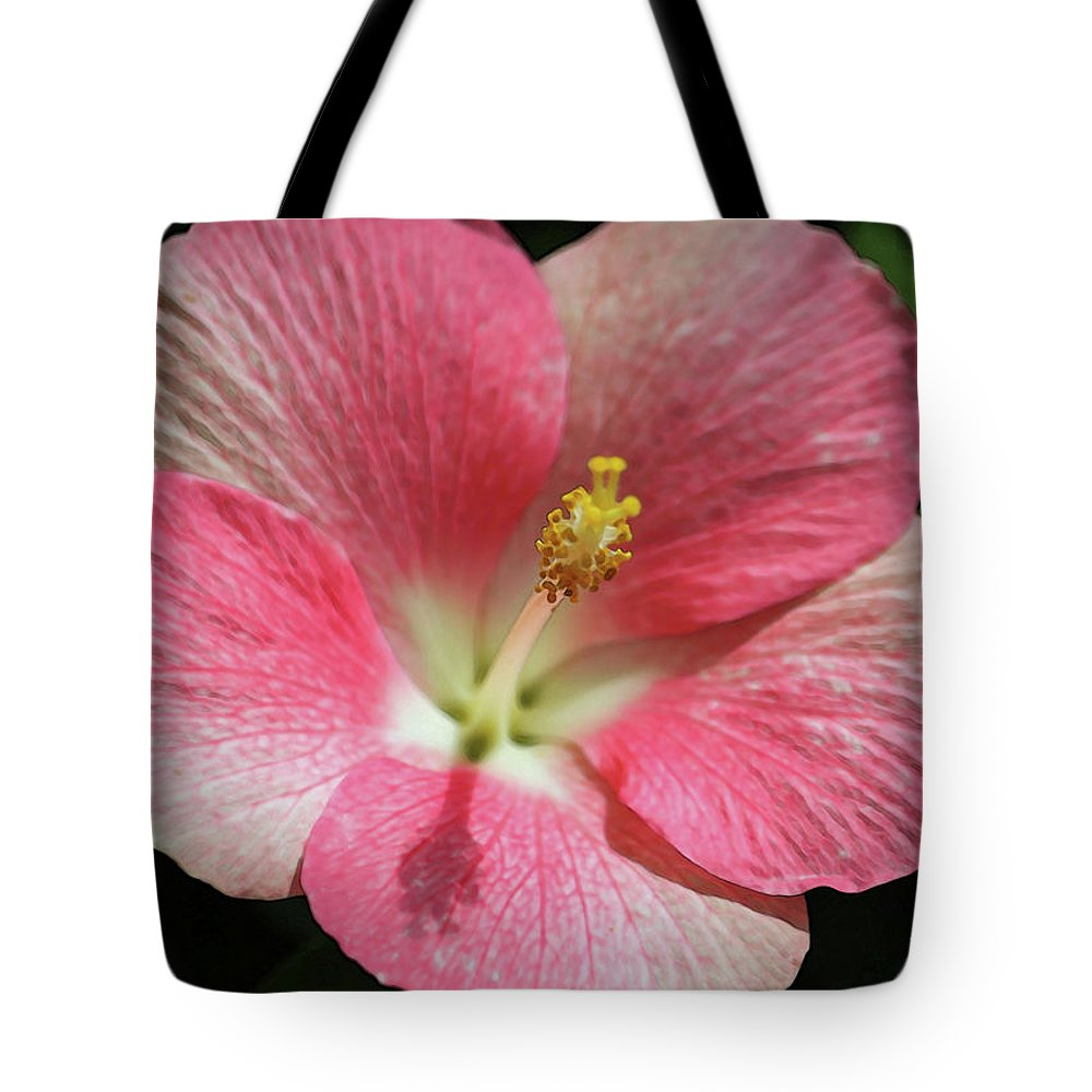 Hibiscus Tote Bag featuring the photograph Floral Symphony In Pink by Suzanne Gaff
