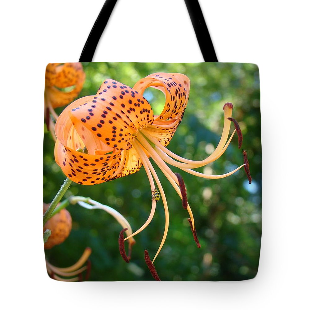 Lilies Tote Bag featuring the photograph Floral Tiger Lily Flower Art Print Orange Lilies Baslee Troutman by Baslee Troutman
