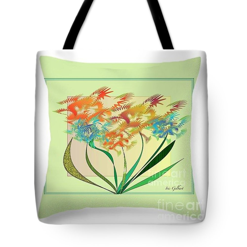 Floral Tote Bag featuring the digital art Floral Wonder Pillow by Iris Gelbart