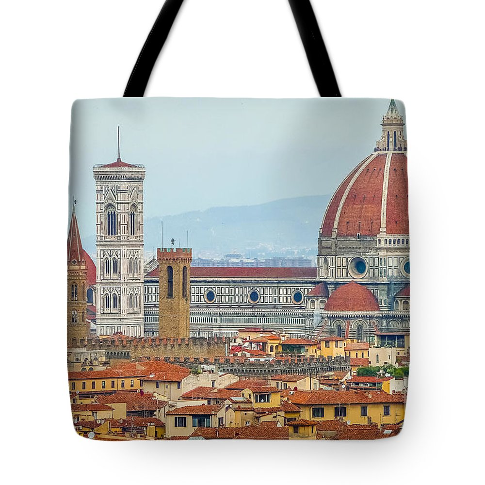 Aerial Tote Bag featuring the photograph Florence And The Roofs by JR Photography