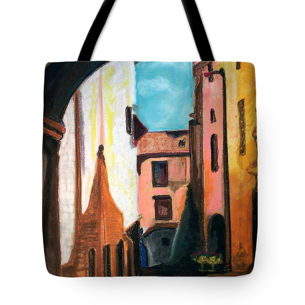 Pastel Tote Bag featuring the drawing Florence Cove by Patricia Arroyo