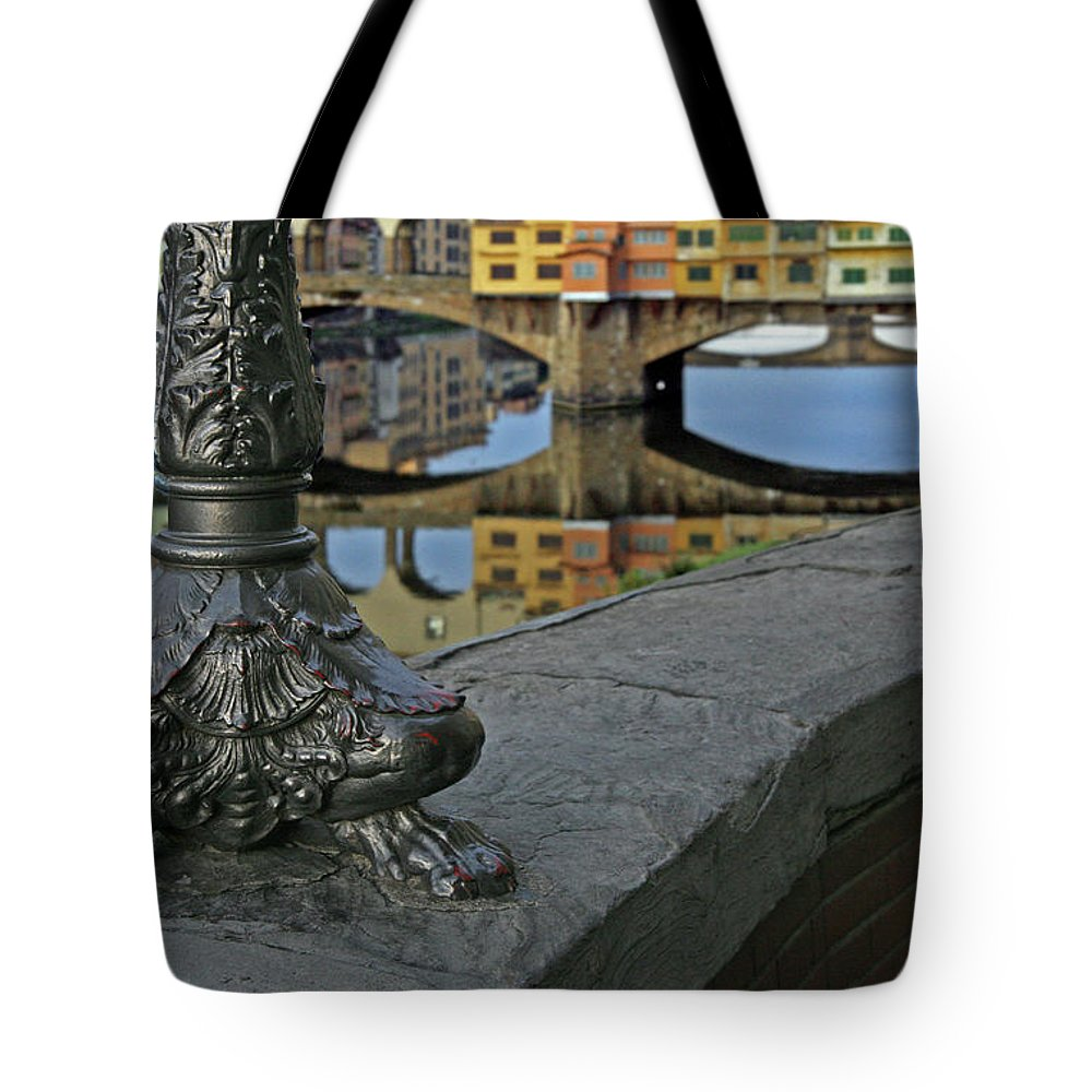 Florence Tote Bag featuring the photograph Florence The Old Bridge by Guy Ciarcia