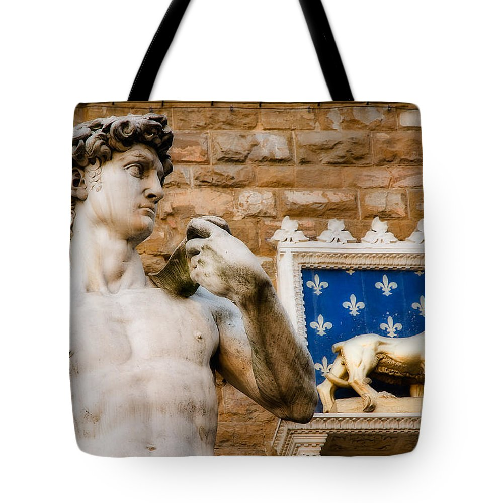Michaelangelo David Tote Bag featuring the photograph Florentine Icons by Mick Burkey
