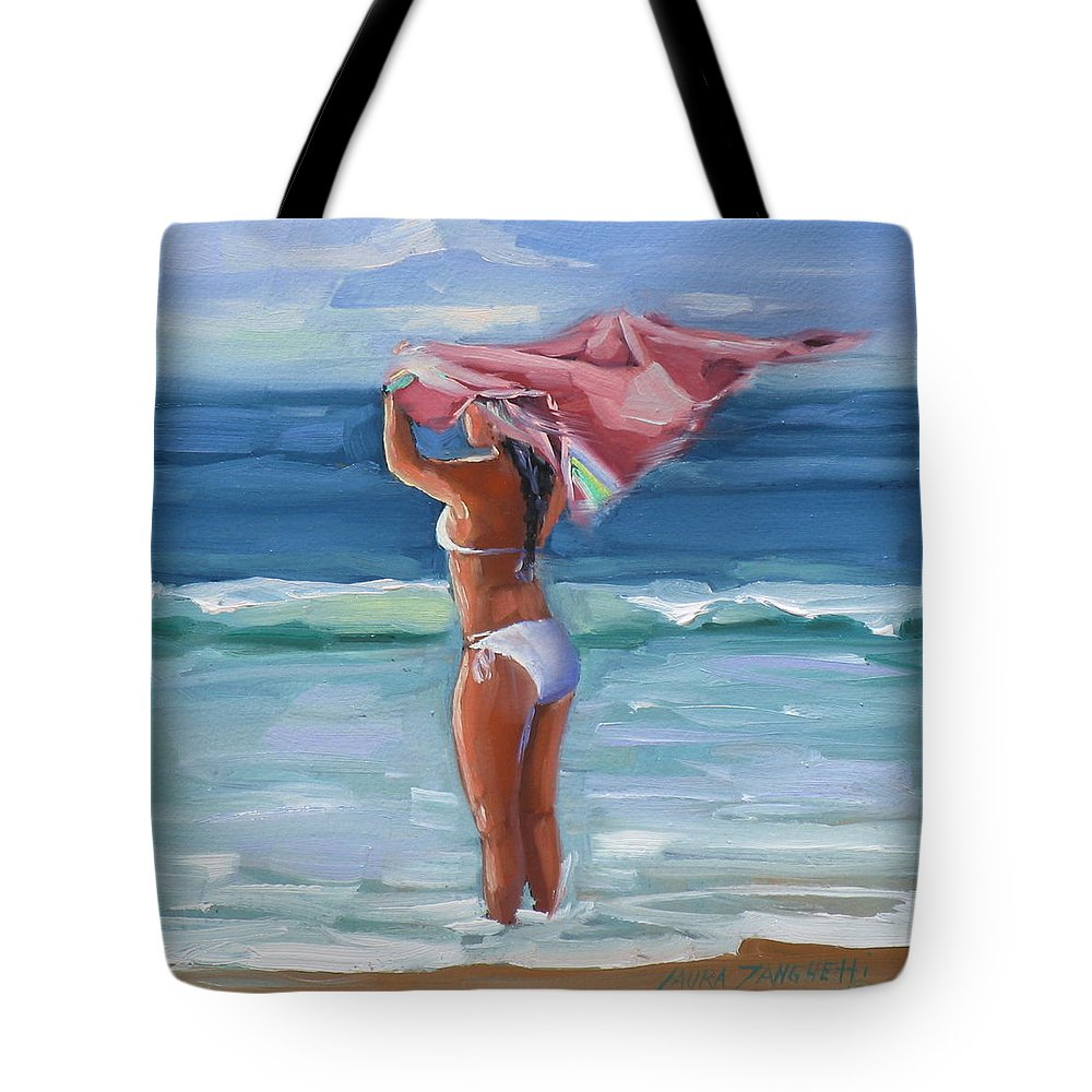 Seascape Tote Bag featuring the painting Florida Breezes by Laura Lee Zanghetti
