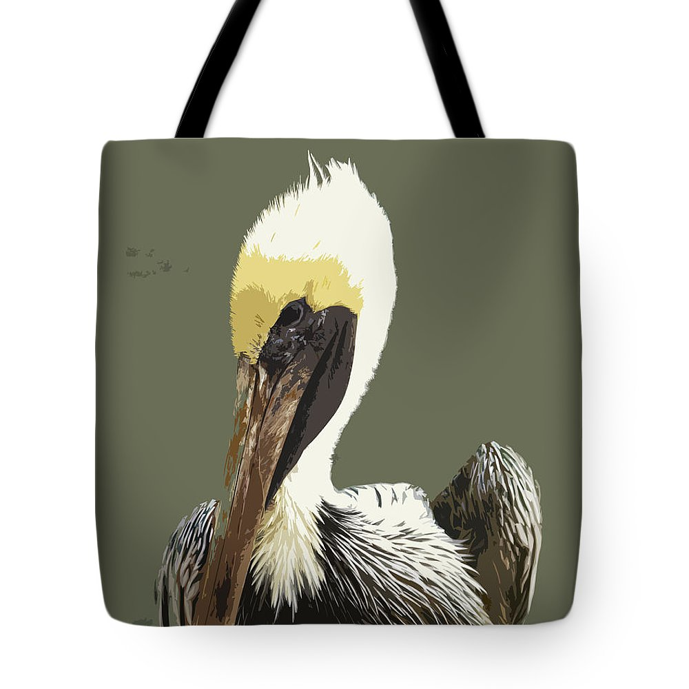 Pelican Tote Bag featuring the painting Florida Brown Pelican by Allan Hughes