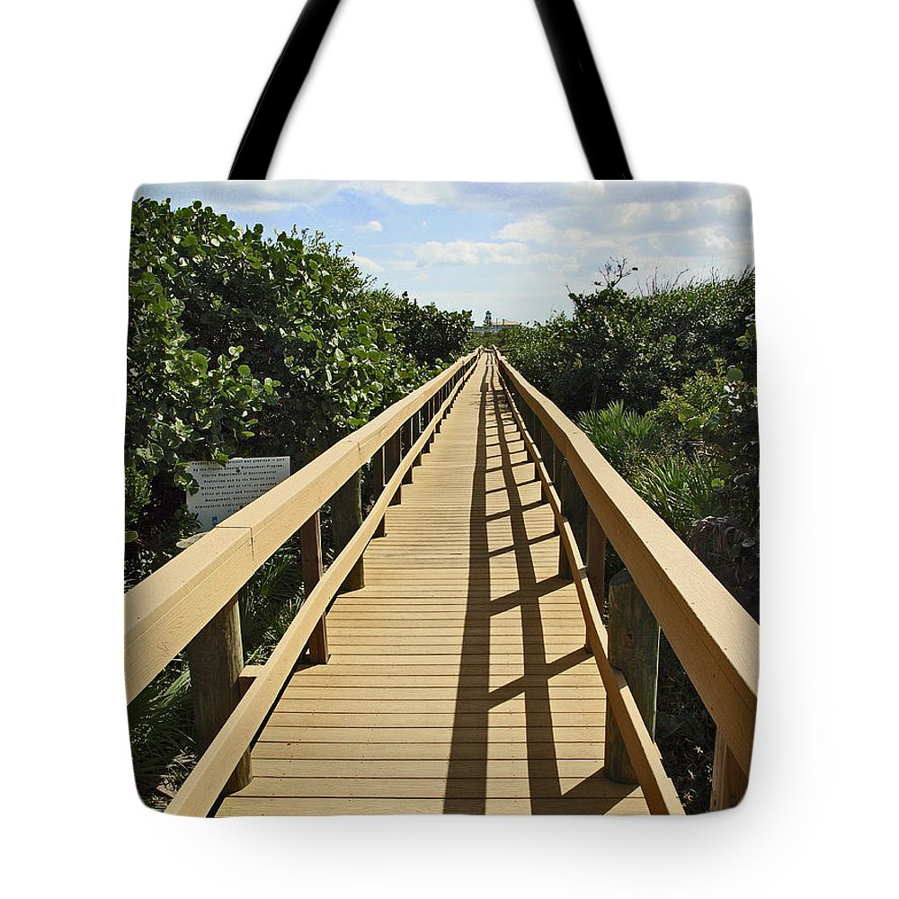 Sand Tote Bag featuring the photograph Florida Dune Walk by Allan Hughes