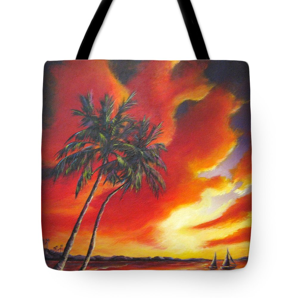 Ocean Tote Bag featuring the painting Florida Orange by Melody Horton Karandjeff