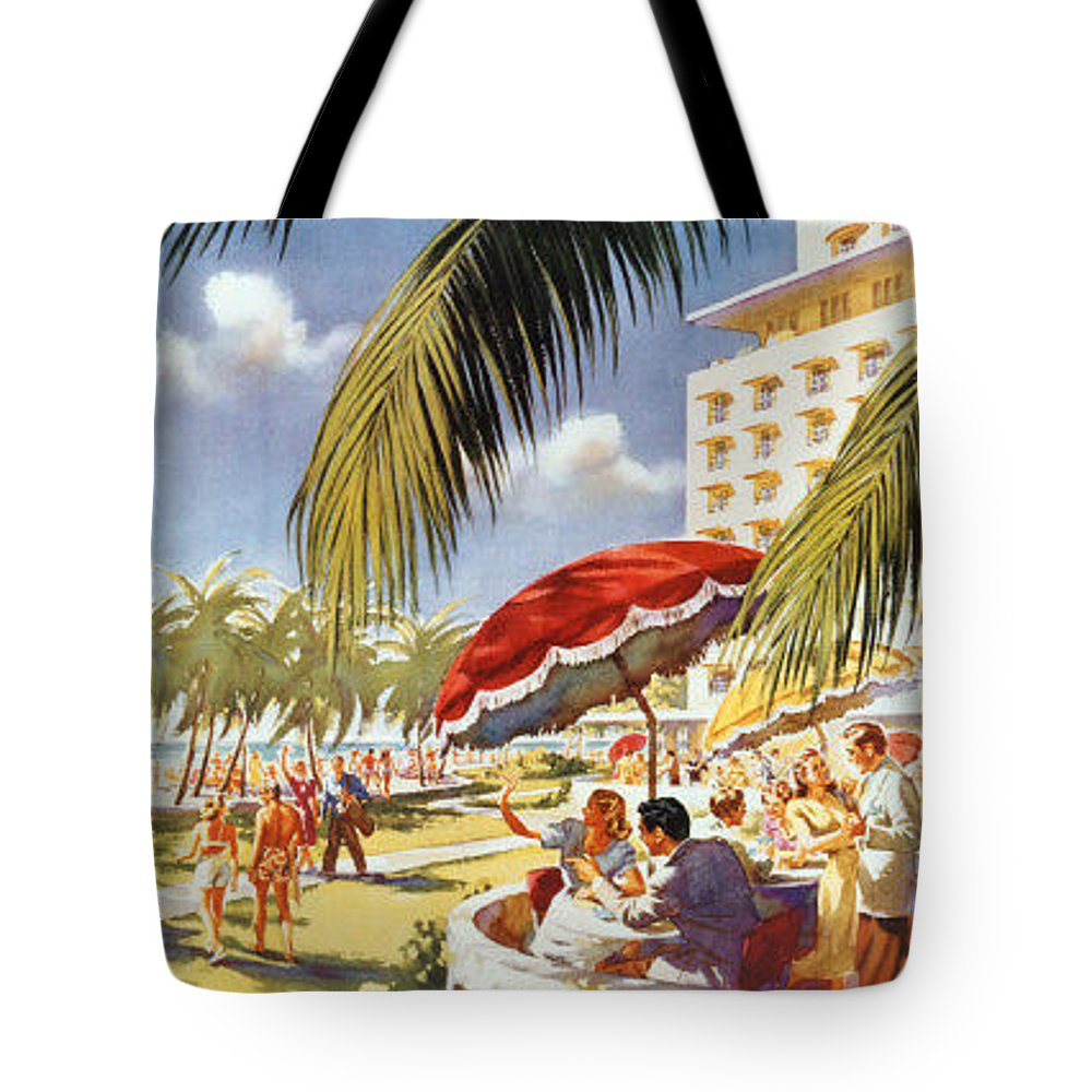Vintage Tote Bag featuring the painting Florida-pennsylvania Railroad by Nostalgic Prints