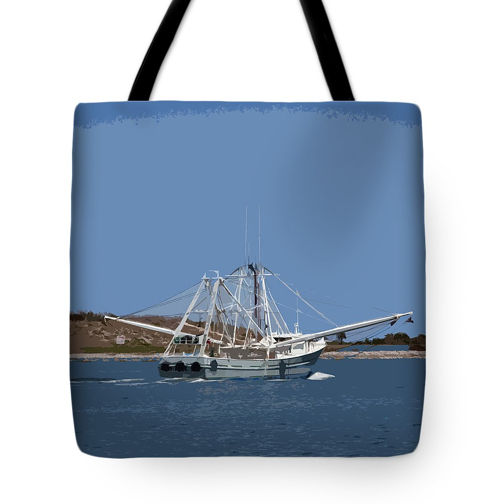 Shrimp Tote Bag featuring the painting Florida Shrimper by Allan Hughes