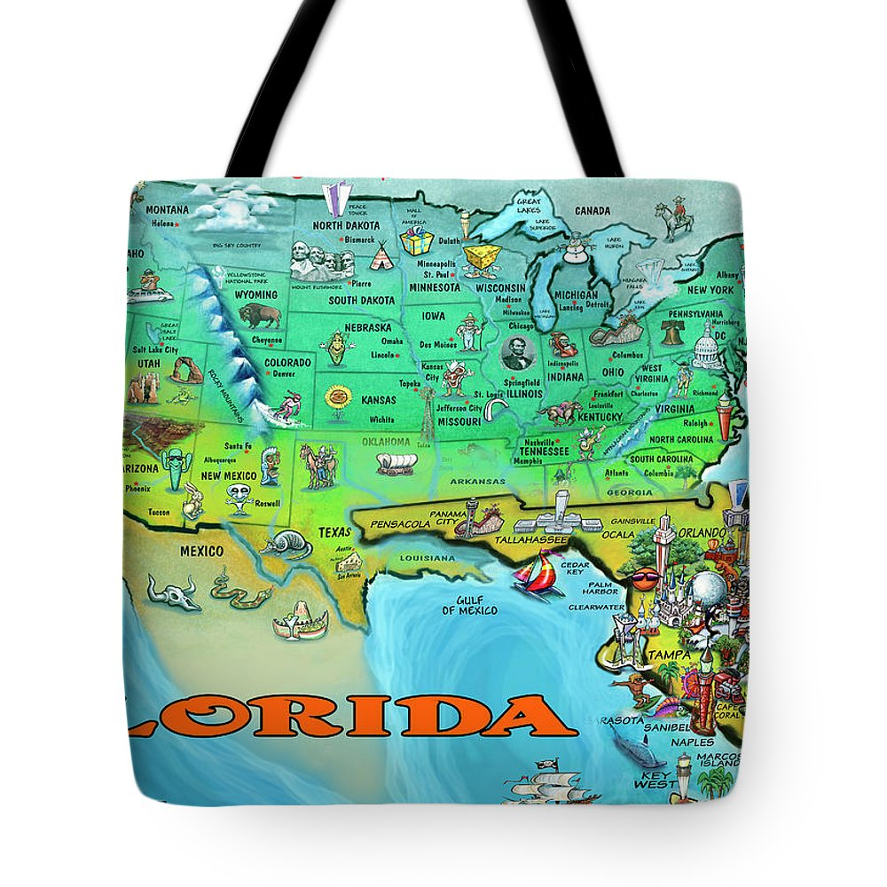 Florida Usa Cartoon Map Tote Bag For Sale By Kevin Middleton