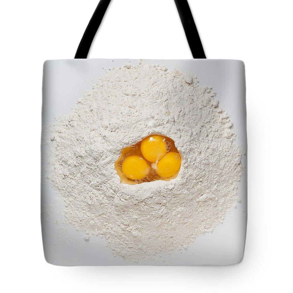 Flour Tote Bag featuring the photograph Flour And Eggs by Steve Gadomski