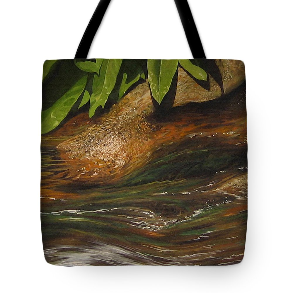 Colorado Mountain Stream Tote Bag featuring the painting Flow by Hunter Jay