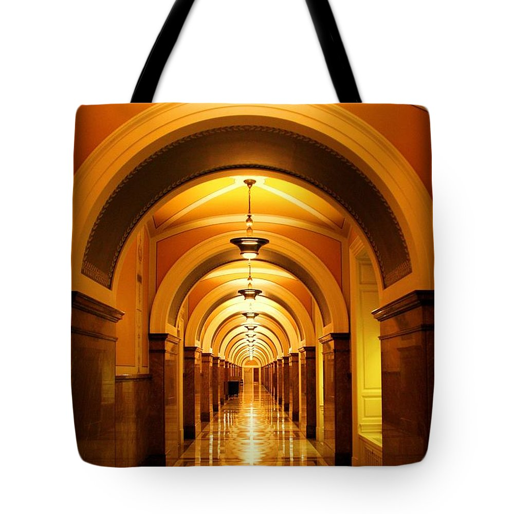 Corridor Tote Bag featuring the photograph Flow Of Time by Mitch Cat