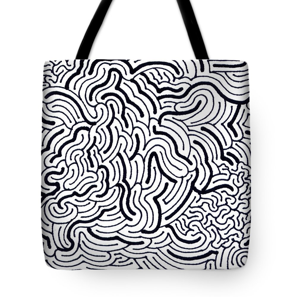 Mazes Tote Bag featuring the drawing Flow by Steven Natanson