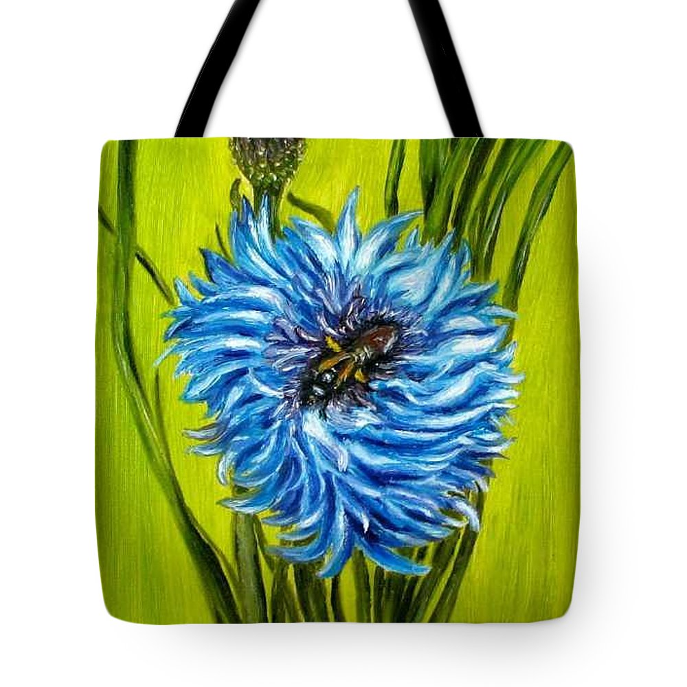 Flower Tote Bag featuring the painting Flower And Bee Oil Painting by Natalja Picugina