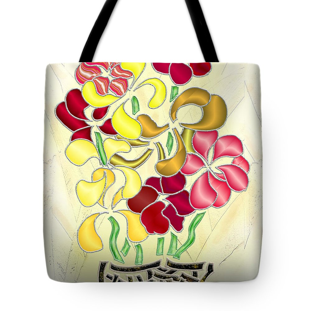 Abstract Digital Art Tote Bag featuring the digital art Flower Basket by Mark Sellers