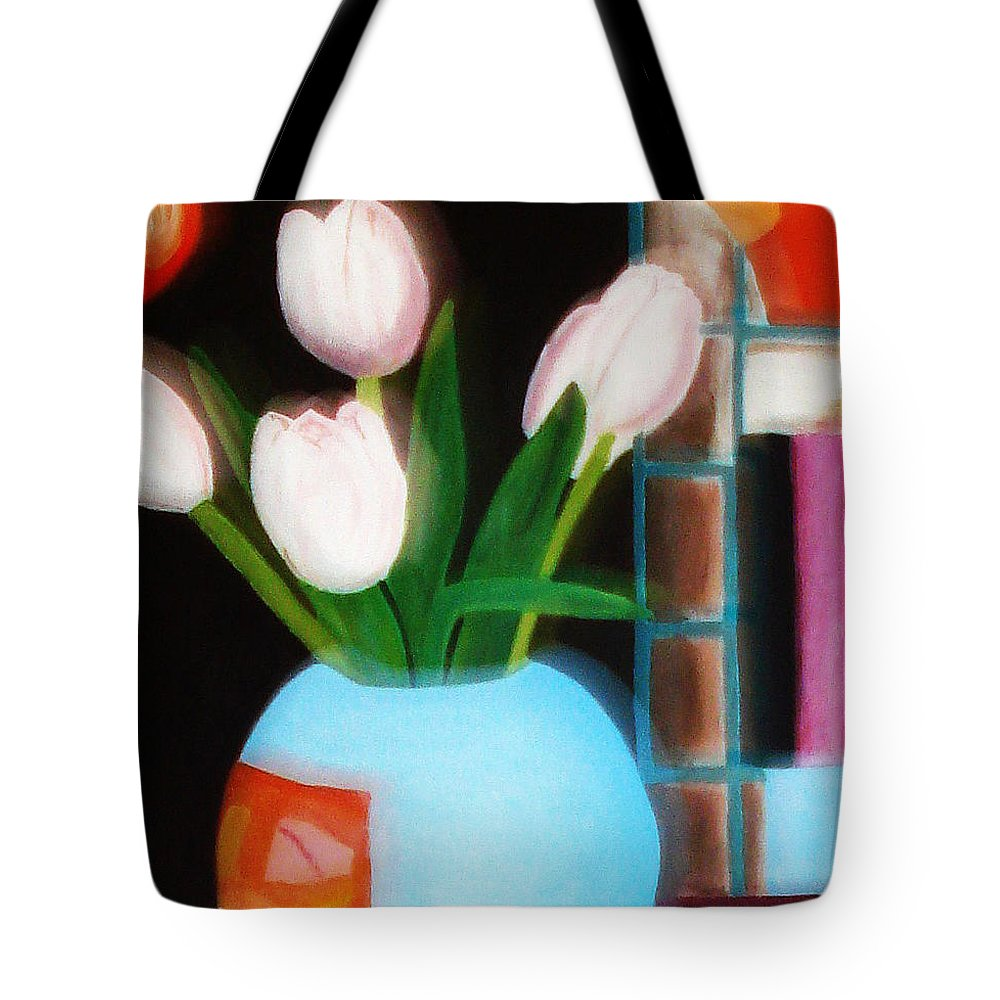 Landscape Tote Bag featuring the painting Flower Decor by Yael VanGruber