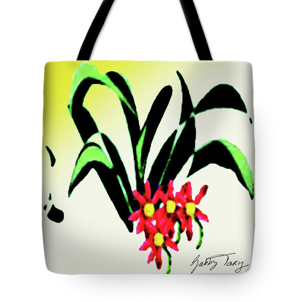 Flower Design Tote Bag featuring the painting Flower Design #2 by Gabby Tary