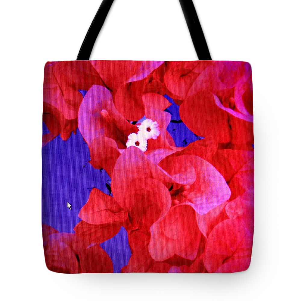 Red Tote Bag featuring the photograph Flower Fantasy by Ian MacDonald