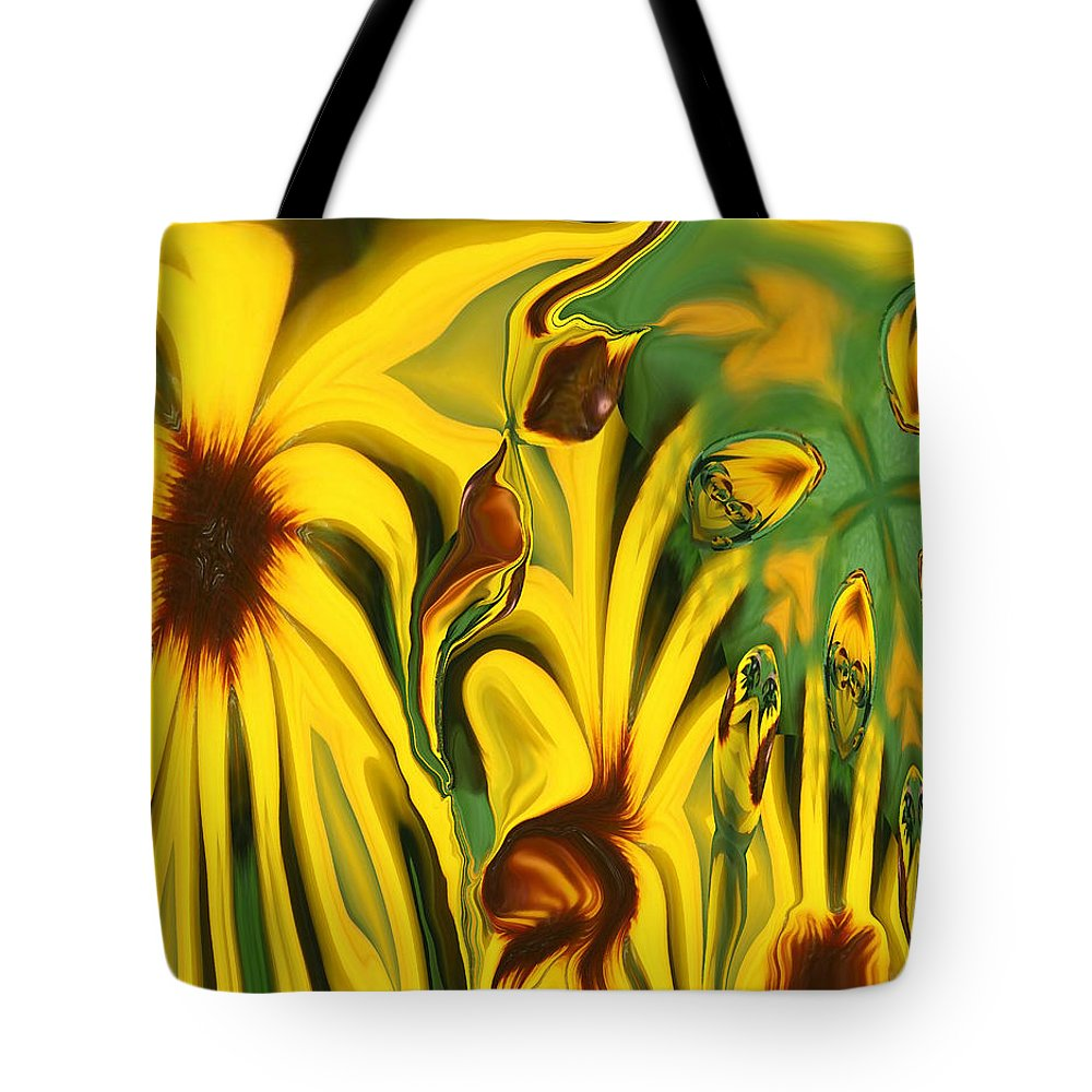 Abstract Tote Bag featuring the photograph Flower Fun by Linda Sannuti