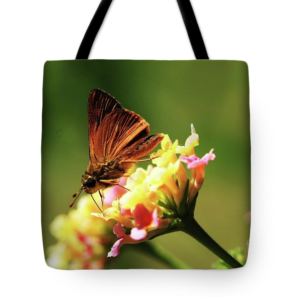 Butterfly Tote Bag featuring the photograph Flower Garden Friend by Kim Henderson
