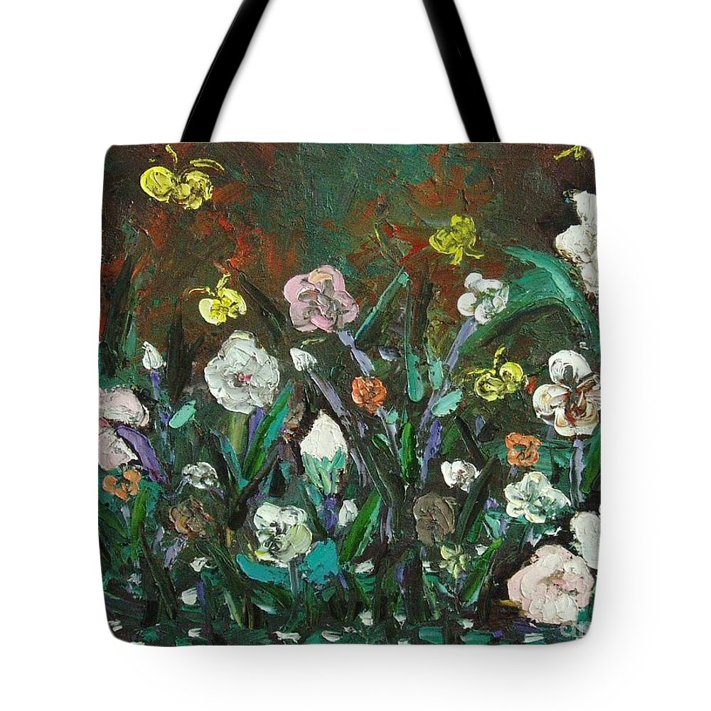 Abstract Paintings Tote Bag featuring the painting Flower Garden by Seon-Jeong Kim