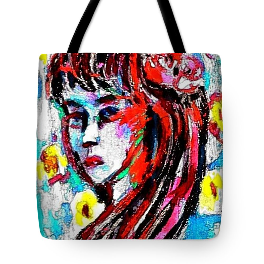 Girl Tote Bag featuring the painting Flower Girl Portrait by Hae Kim
