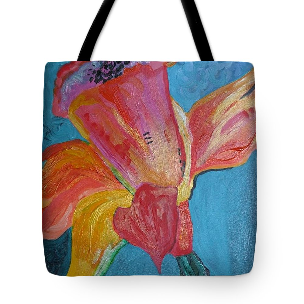 Flower Tote Bag featuring the painting Flower by H Nuurah Hakima