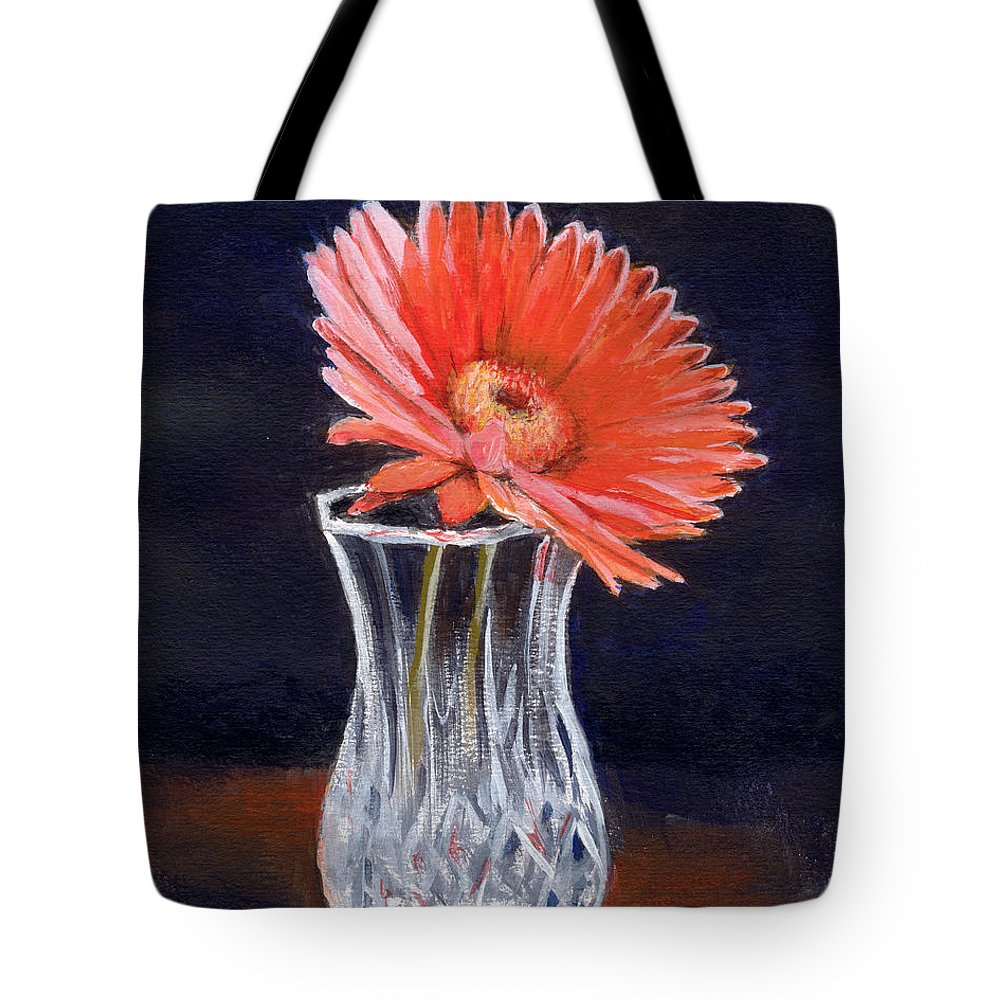 Flower Tote Bag featuring the painting Flower In Crystal Vase by Michael Beckett