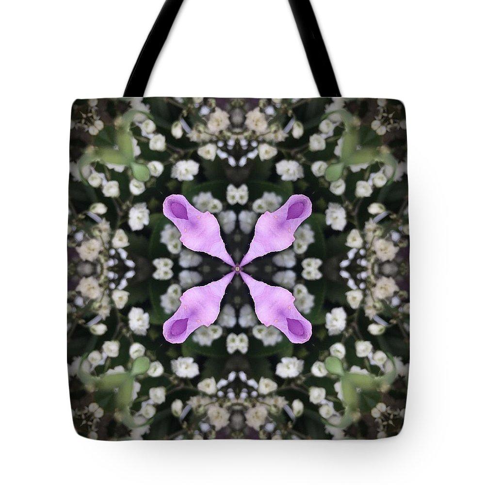 Flowers Tote Bag featuring the digital art Flower Kaleidoscope_001 by Rene Wissink