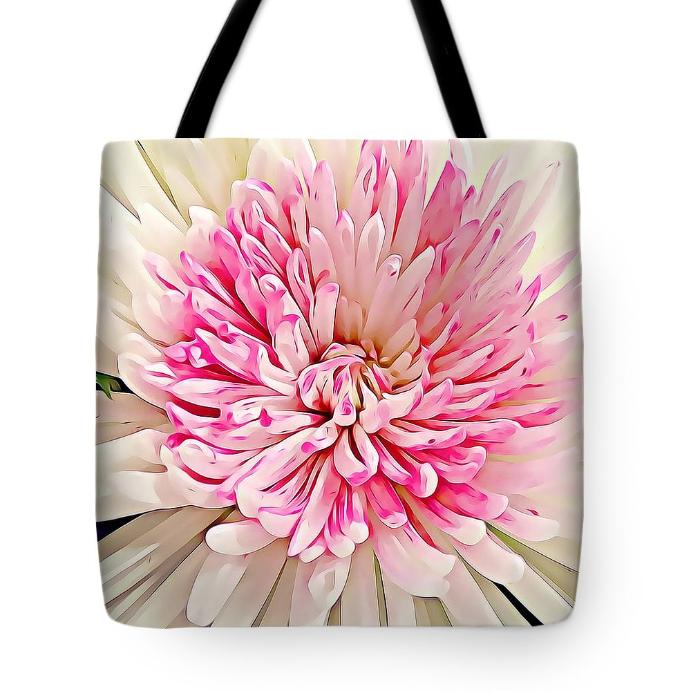 Fleur Tote Bag featuring the drawing Flower Macro. by Divine Kanza