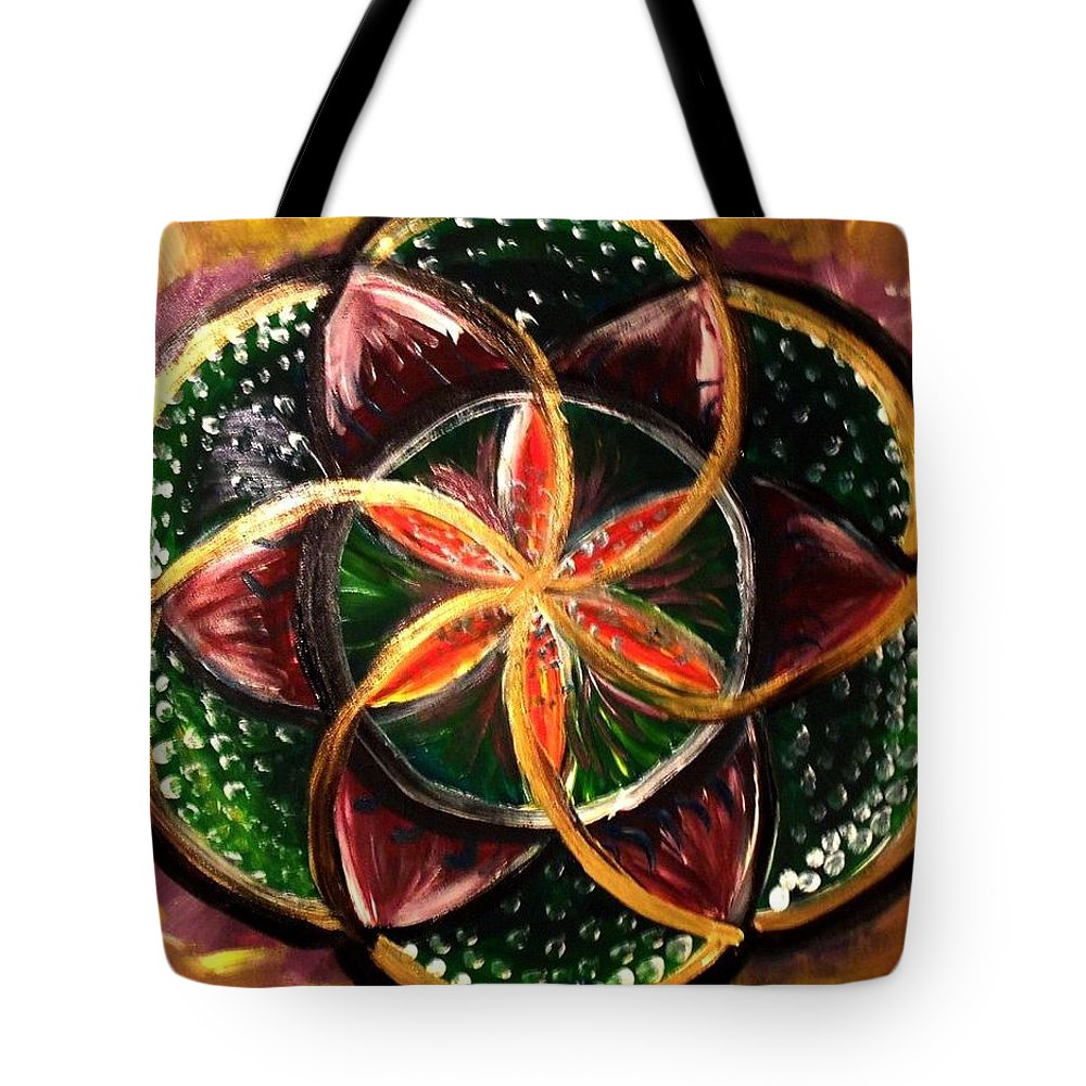 Flower Of Life Tote Bag featuring the painting Flower Of Life by Christine McNulty