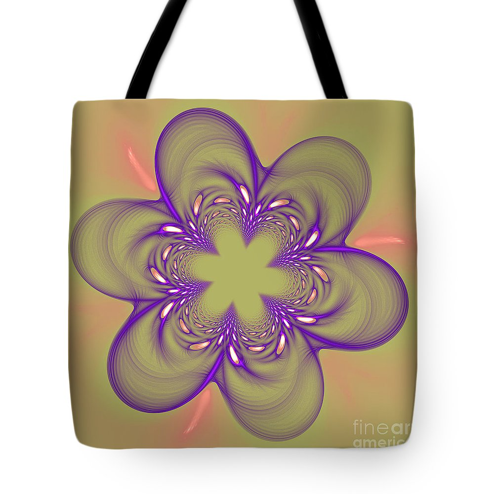 Fractal Tote Bag featuring the photograph Flower Of Pink - Purple by Deborah Benoit