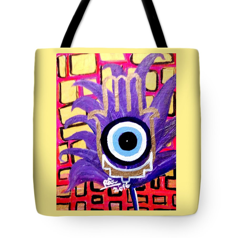 Evil Eye Cure Tote Bag featuring the painting Flower Of Protection by Rizwana Mundewadi
